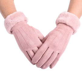 Solid Dusty Pink Gloves with Embossed Lines and Faux Fur Trim (Size XS-M)