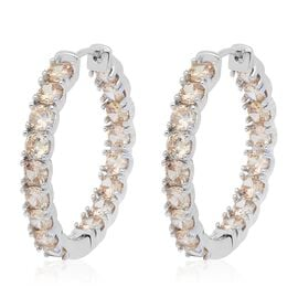 Simulated Champagne Diamond (Rnd) Inside Out Hoop Earrings (with Clasp Lock) in Silver Plated