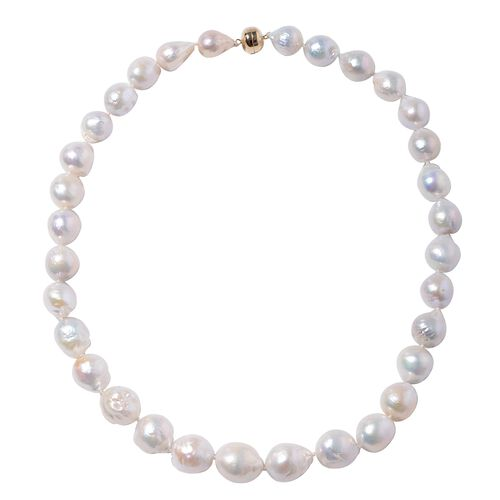AAA White Edison Pearl Beaded Necklace in 14K Gold 5 Grams Size 20 Inch