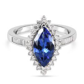 RHAPSODY 950 Platinum AAAA New Tanzanite and Diamond (VS/E-F) Ring 2.37 Ct, Platinum wt. 5.66 Gms