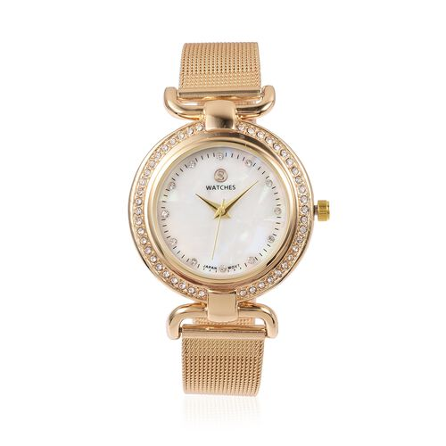 STRADA Japanese Movement White Austrian Crystal Studded Water Resistant Watch in Gold Tone