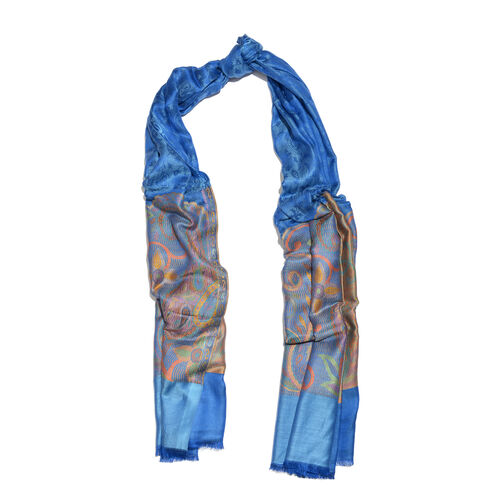 Designer Inspired - Blue, Pink and Multi Colour Paisley and Floral Pattern Jacquard Scarf with Fringes (Size 200X70 Cm)