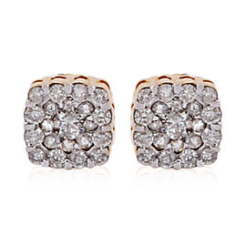 10K Yellow Gold White Diamond (I1-I2/G-H) Earrings 0.50 Ct.
