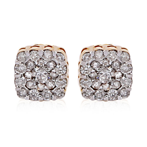 10K Yellow Gold White Diamond (I1-I2/G-H) Earrings 0.50 Ct.
