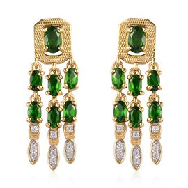 Russian Diopside and Natural Cambodian Zircon Dangle Earrings in 14K Gold Overlay Sterling Silver 4.