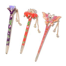 Multicolour Austrian Crystal Enamelled Hairpin Stick with Tassel (Calla Lily, Amaryllis and Butterfl