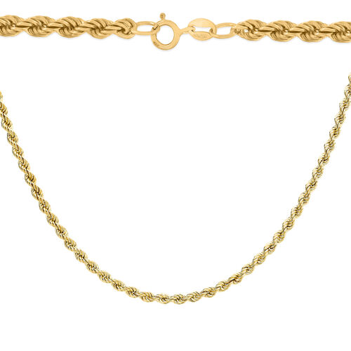 9K Yellow Gold Rope Chain (Size 18), Gold wt 5.10 Gms