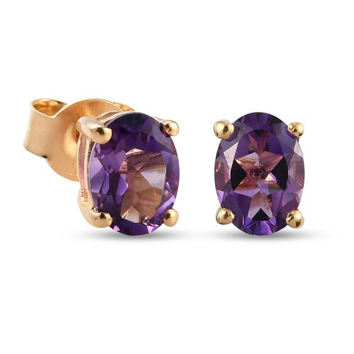 Amethyst Stud Earrings (with Push Back) in 14K Gold Overlay Sterling Silver 11.26 Ct.