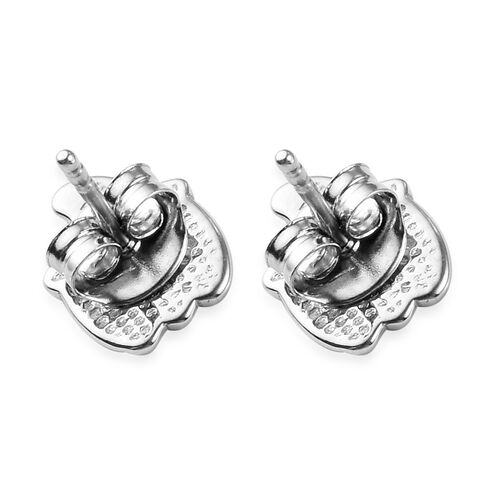 Platinum Overlay Sterling Silver Enamelled Pumpkin with Witch Hat Kids Stud Earrings (with Push Back)