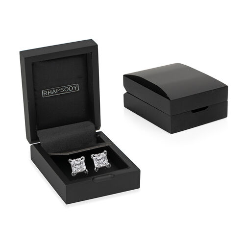 RHAPSODY 950 Platinum IGI Certified Diamond (Princess Cut) (VS/E-F) Solitaire Stud Earrings (with Screw Back) 0.20 Ct
