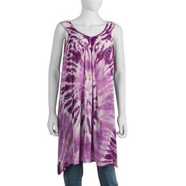 Tie-Dye Embroidered V Neck Summer Dress - One Size Fits All: Length: 90cm - Purple