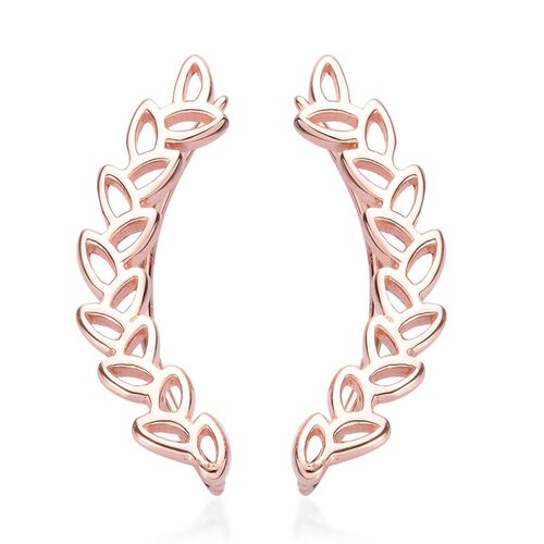 Vicenza Collection Leaves Climber Earrings in Rose Gold Plated Silver