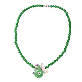 Jardin Collection Green Jade and Multi Gemstone Floral Necklace in Rhodium Plated Silver 18 Inch