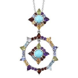 5.50 Ct Arizona Sleeping Beauty Turquoise, Mozambique Garnet, Sky Blue Topaz and Multi Gemstone Designer Pendant with Chain in Platinum Plated Silver 7.16 gms
