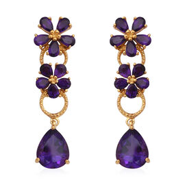 Zambian Amethyst (Pear) Floral Earrings (with Push Back) in Yellow Gold Overlay Sterling Silver 7.50