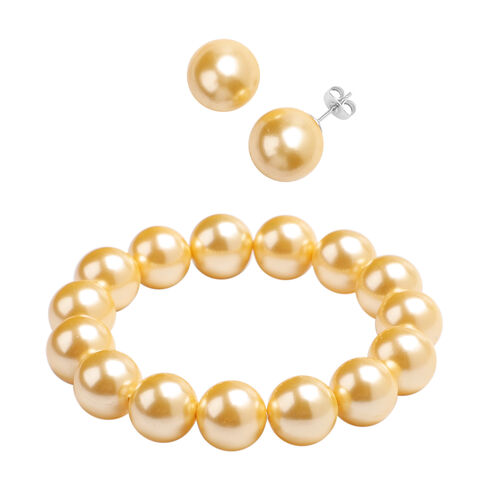 2 Piece Set - Golden Shell Pearl Beaded Stretchable Bracelet (Size 7) and Earrings (with Push Back)