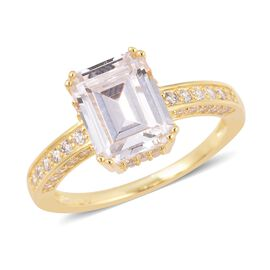 ELANZA Simulated Diamond (Asscher Cut) Ring (Size P) in Yellow Gold Overlay Sterling Silver