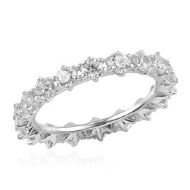 J Francis Platinum Overlay Sterling Silver Band Ring Made with SWAROVSKI ZIRCONIA 3.75 Ct.