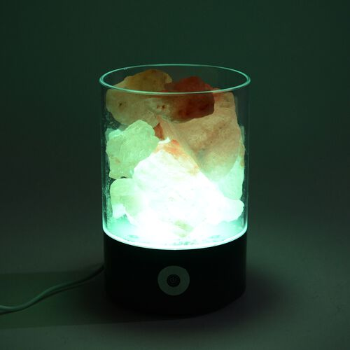 Himalyan Rock Salt Lamp with Inter Changeable LED Colour and USB Wire (Size 14x9.4x6.4 Cm - Black