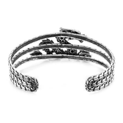 Royal Bali Collection - Polki Diamond Dragon Cuff Bangle (Size 7.5) in Sterling Silver 0.75 Ct., Silver wt 34.00 Gms.