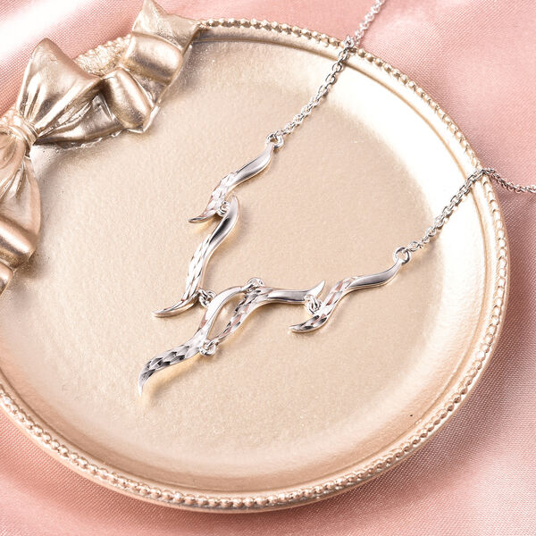 LucyQ Flame Collection - Rhodium Overlay Sterling Silver Necklace (Size 20)