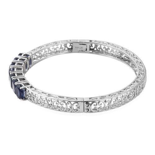 Ceylon Colour Quartz (Ovl) Filigree Bangle (Size 7.5) in Ion Plated Stainless Steel 9.500 Ct