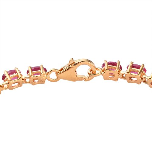 AA African Ruby Bracelet (Size 7.5) in 14K Gold Overlay Sterling Silver 11.98 Ct, Silver wt 6.50 Gms