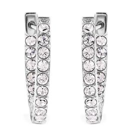 J Francis - Crystal from Swarovski White Crystal (Rnd) Hoop Earrings in Rhodium Overlay Sterling Sil