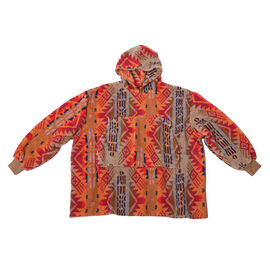 Tribal Pattern Hooded Sweatshirt (Size 194x98cm) - Red and Multi Colour