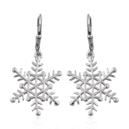 Platinum Overlay Sterling Silver Snowflake Lever Back Earrings, Silver wt 5.21 Gms.