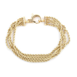 Royal Bali Collection - 9K Yellow Gold 5 Strand Rope Bracelet (Size 7.25), Gold wt 5.61 Gms