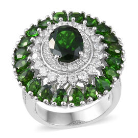 Russian Diopside (Ovl), Natural Cambodian Zircon Ring in Platinum Overlay Sterling Silver 7.000 Ct,