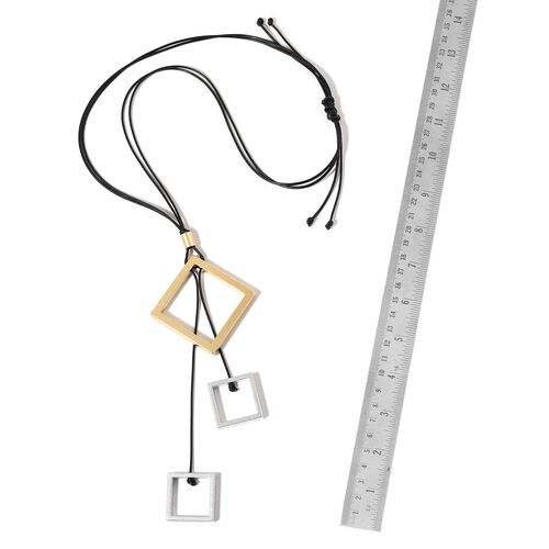 Handcrafted Square Charms Adjustable Necklace (Size 32) in Dual Tone
