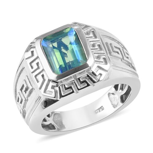 2.60 Ct Peacock Quartz Greek Key Solitaire Ring in Platinum Plated Sterling Silver 10.30 Grams