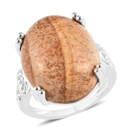 11 Carat Picture Jasper Solitaire Ring in Sterling Silver