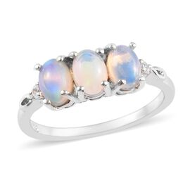 Ethiopian Welo Opal (Ovl), Natural Cambodian Zircon Ring in Platinum Overlay Sterling Silver