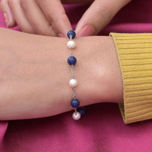 Freshwater Pearl and Lapis Lazuli  Bracelet (Size 7.5) in Sterling Silver