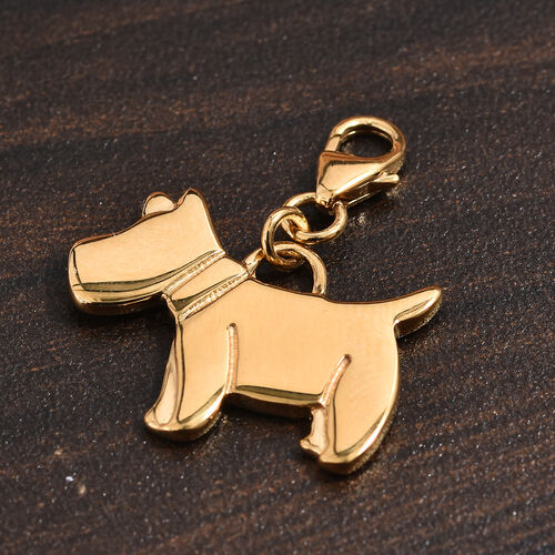 14K Gold Overlay Sterling Silver Scottish Terrier Dog Charm, Silver wt 3.42 Gms.