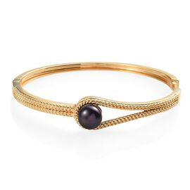 Freshwater Peacock Pearl Woven Bangle in 18K Yellow Gold Plated 7.5 inch