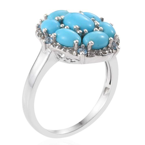Arizona Sleeping Beauty Turquoise (Ovl 1.00 Ct), White Topaz and Signity Blue Topaz Ring in Platinum Overlay Sterling Silver 4.000 Ct.
