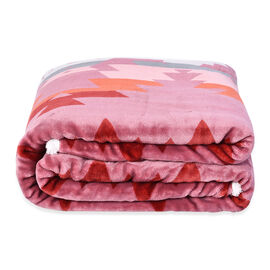 Serenity Night - Santa Fe Collection - Flannel Sherpa Blanket (200x150cm) - Pink - Oeko Tex Certifie