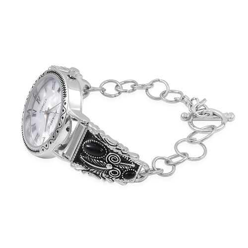 Bali Collection- Black Onyx and White MOP Dial Water Resistant Bracelet Watch (Size 7 with 0.5 inch Extender) Silver Plated