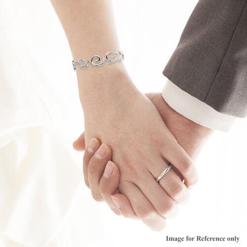 LucyQ Swirl Bracelet (Size 8.5) in Rhodium Overlay Sterling Silver