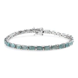 Extremely Rare 15.80 Ct Grandidierite Tennis Bracelet in Platinum Plated Silver 13.61 Grams 8 Inch