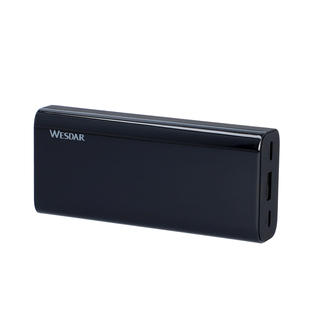 Wesder 10000 mah Portable Power Bank 93 with Display Screen Built - in (Size:11x5x2Cm) - Black