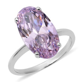 ELANZA Swiss Star Cut Simulated Pink Diamond Solitaire Ring in Platinum Plated Sterling Silver