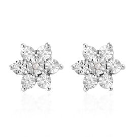 One Time Deal- Diamond (Rnd) Floral Earrings (with Push Back) in Platinum Overlay Sterling Silver