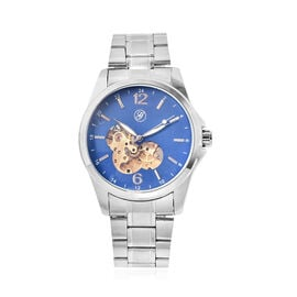Genoa Automatic Mechanical Movement Blue Dial Water Resistant Watch with Chain Strap
