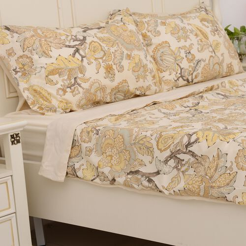 4 Pcs Cream Colour Fitted Sheet (Size 140x190 Cm), Duvet Cover (Size 200x200 Cm) and Pillow Case (Size 50x75 Cm) Cream and Multi Colour