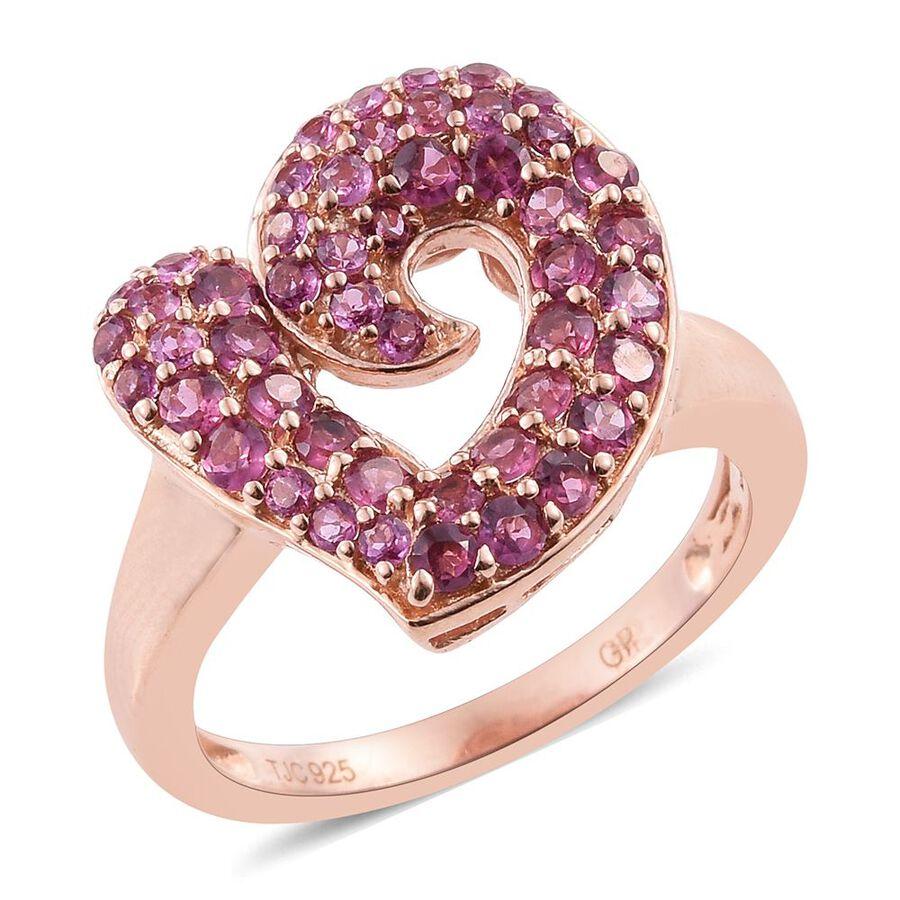 GP Rhodolite Garnet (Rnd), Kanchanaburi Blue Sapphire Heart Ring in ...